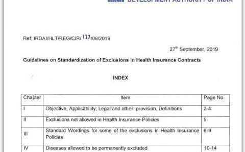 Enhanced Health Insurance Benefits | IRDA's Guidelines 2019-20